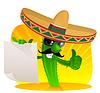 mexikanischer Kaktus mit Papierblatt