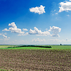 Black ploughed field under deep blue sky | Stock Foto