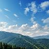 Piękny zielony krajobraz górski z drzew | Stock Foto