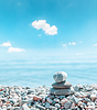 Zen stone Stapel der Nähe von Meer | Stock Foto