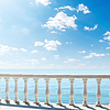 Clouds over sea. view of terrace with balcony | Stock Foto