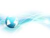 Vektor Cliparts: blauer Hintergrund mit Weltkugel