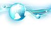 Vektor Cliparts: blauem Hintergrund mit Globus.