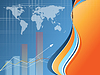 blauer Hintergrund mit Weltkarte