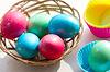 Wielkanocny koszyk z pisanki | Stock Foto