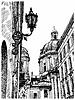digitale Zeichnung von Lviv (Ukraine) historische Allee