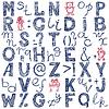 Handzeichnung blauen doodle Alphabet Design | Stock Vektrografik