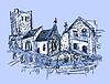 digitale Skizze Zeichnung des ländlichen Raums