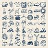 49 Handzeichnung icon set, Reisethema