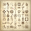 49 hand drawing doodle icon set, medical theme | Stock Vector Graphics