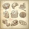 Digitale Zeichnung Bäckerei Icon-Set | Stock Vektrografik