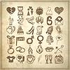 36 Handzeichnung doodle icon set, Hochzeit sketchy | Stock Vektrografik