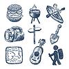 Skizze doodle icon collection, Picknick, Reise-und | Stock Vektrografik