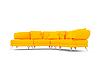 Żółta kanapa na białym | Stock Illustration