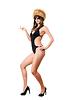 Seksowna pani w okularach na sobie kostium kąpielowy i futro-cap | Stock Foto