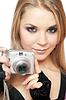 젊은 아름 다운 여자 들고 카메라 | Stock Foto