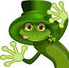 Grüner Frosch mit Hut von Saint Patrick