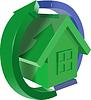 grüne Haus mit Pfeilen