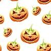 Halloween pumpkin seamless pattern, cartoon | Stock Illustration