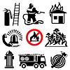 Значки пожарной безопасности | Векторный клипарт