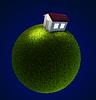 Dom na małej planecie zielony | Stock Illustration