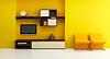 Wohnzimmer-Innenraum mit Bücherregal und Fernseher | Stock Illustration
