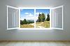 Leere neue Zimmer mit offenem Fenster | Stock Illustration