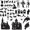 Satz von Silhouetten symbolisierend Halloween