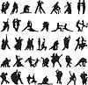 Satz von Silhouetten der Paare tanzen Tango