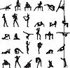 Vektor Cliparts: Silhouetten von tanzenden Mädchen