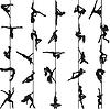 Satz von Silhouetten der Tänzer auf dem Seil