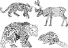 eine Reihe von Zeichnungen von Tieren in der ethnischen