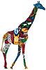 Векторный клипарт: Жирафа в Африканской этническими узорами