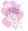 Symbole der Liebe Herzen und Blumen