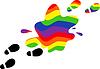 Drucken Füßen in einer Pfütze des Regenbogens