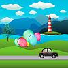 Schwarz Auto und festlichen Ballons