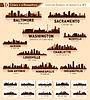 Set von Stadt-Skylines. 10 Städte der USA