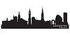 Leicester, England Skyline. Detaillierte silhouette | Stock Vektrografik