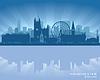 Manchester, England Skyline mit Reflexion in Wasser | Stock Vektrografik