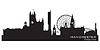 Manchester, England Skyline. Detaillierte silhouette | Stock Vektrografik