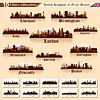 Set von Skylines der 10 Städte von Großbritannien