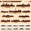 Skyline der Stadt Set. 10 Stadt Silhouetten von Kanada