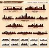 도시의 스카이 라인을 설정합니다. 미국의 10 도시의 실루엣 | Stock Vector Graphics