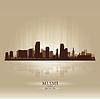 마이애미, 플로리다의 스카이 라인 도시 실루엣 | Stock Vector Graphics