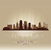 Kansas City Missouri Stadt Skylineschattenbild