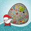 圣诞老人和袋礼物 | 向量插图