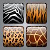 Set von Icons mit verschiedenen Tier-Texturen