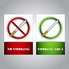 Rauchen verboten und Raucherbereich - Zeichen