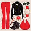 Moda zestaw z dżinsy i kurtkę | Stock Vector Graphics