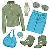 Moda zestaw z spódnicę i kurtkę | Stock Vector Graphics